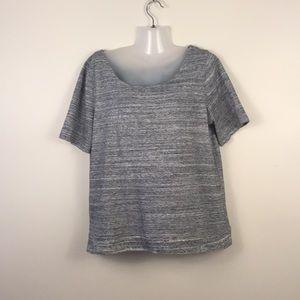 J. Crew Tops - J Crew back zip thick grey top shirt sleeve size L